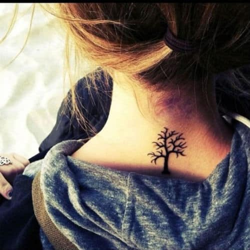 nice-small-tree-back-neck-tattoo-for-girls