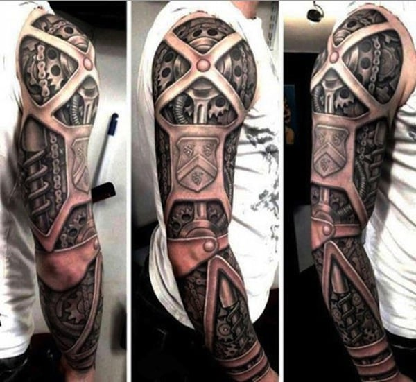 3D-Biomechanical-Tattoo-On-Man-Right-Sleeve