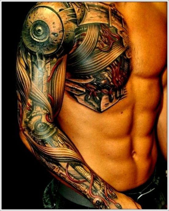 Amazing-biomechanical-tattoo-on-chest-and-sleeves