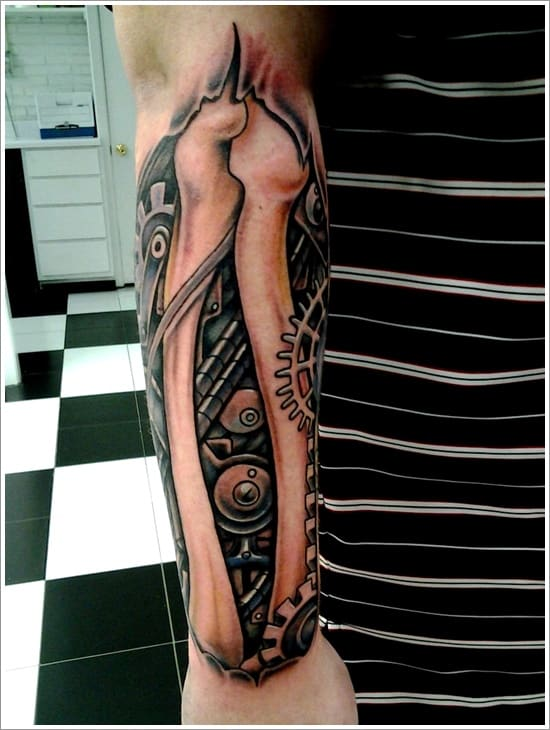 Bone-and-mechanical-arm-tattoo-designs