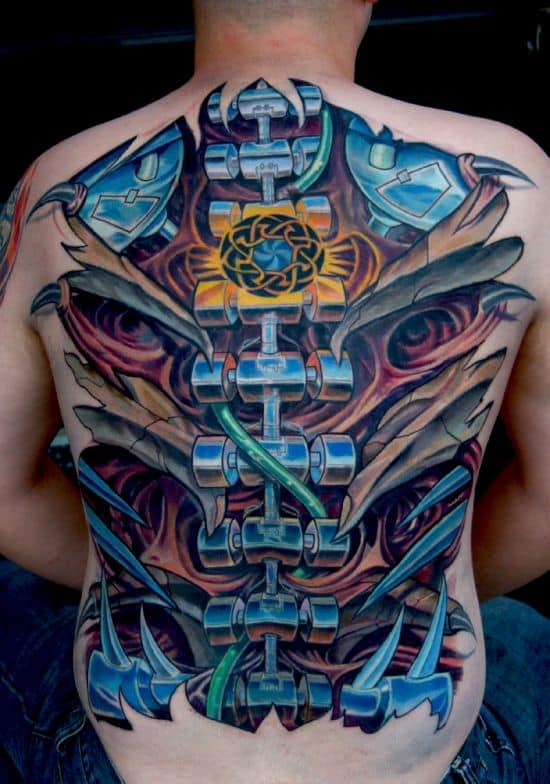 Colourful-biomechanical-back-tattoo-idea