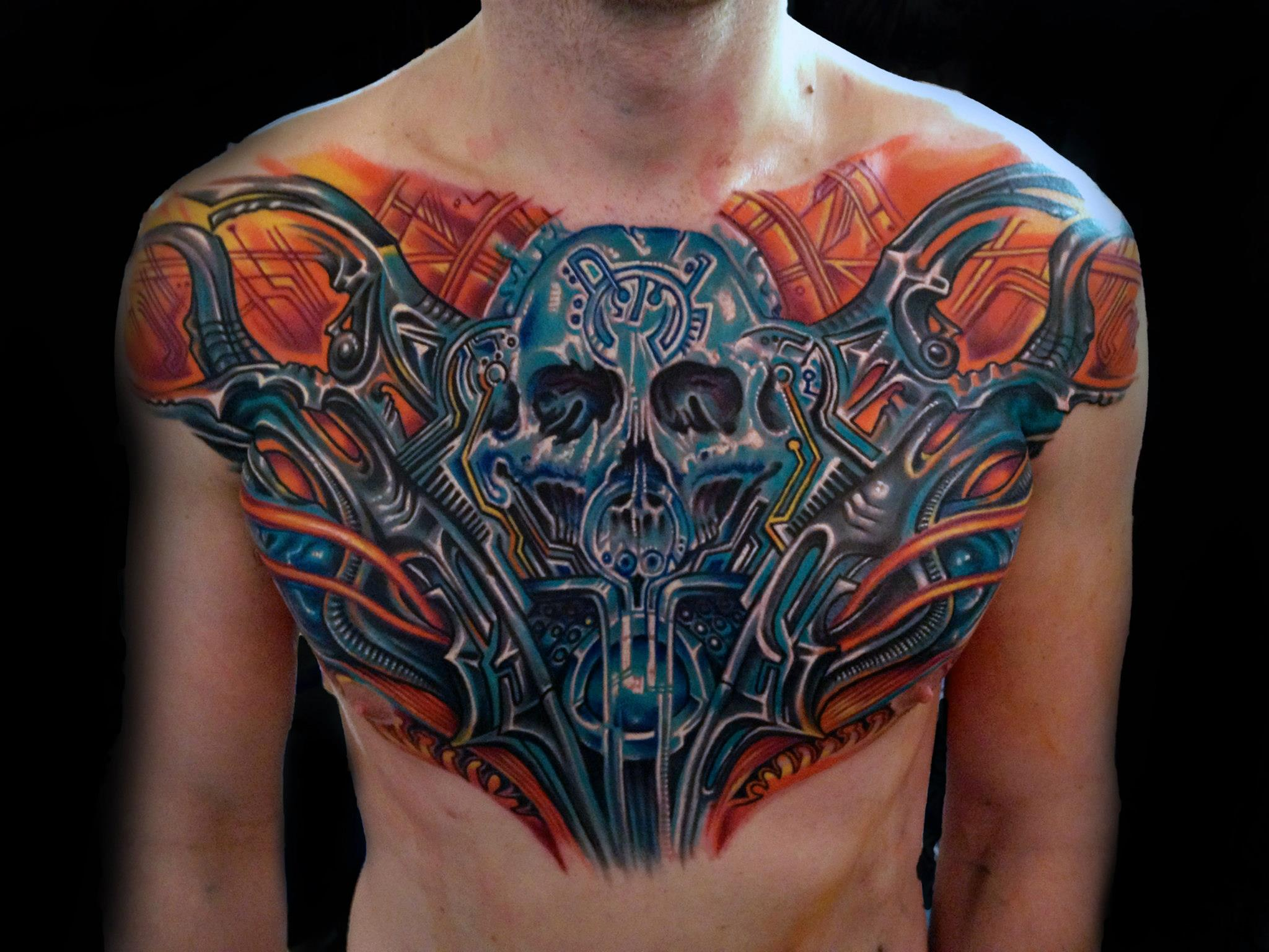 biomechanical tattoos for men on chest