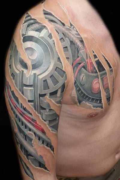 chest-and-arm-biomechanical-tattoo
