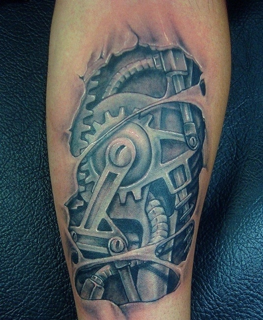 mechanical tattoos on arms