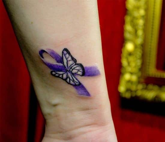 butterfly pink ribbon cancer tattoos