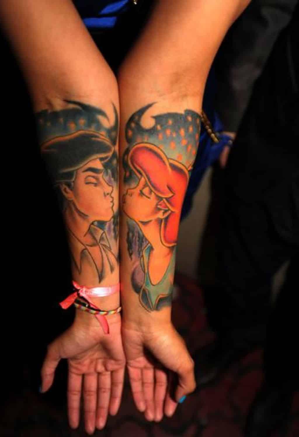 couple-tattoos-the-little-mermaid - Tattoo Bytes