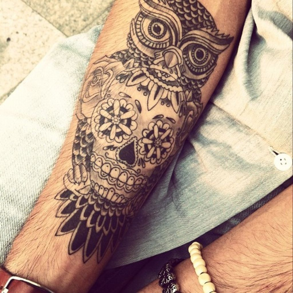 owl-sugar-skull-tattoo