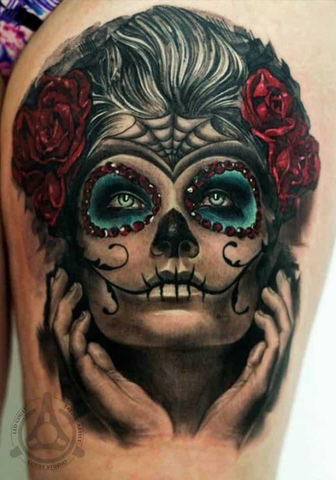 pretty sugar skull tattoo