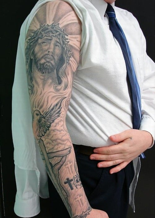 religious Tattoo Sleeve jesus Designs
