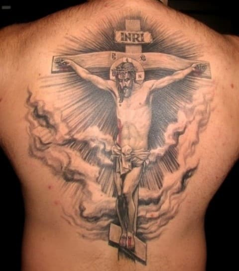 jesus-cross-and-clouds-tattoos-on-back