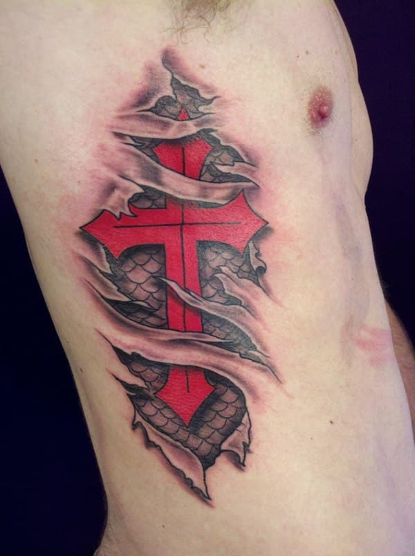 ripped-skin-red-cross-christian-tattoo-on-side-rib
