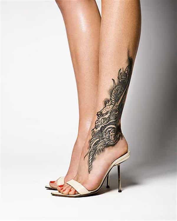 tattoo ideas for women unique dragon in foot