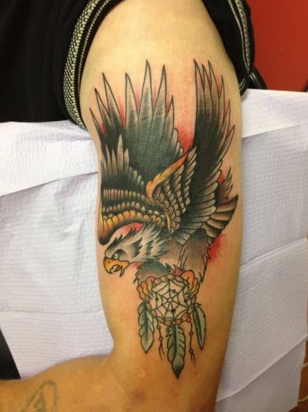 3d-eagle-and-dream catcher-tattoos