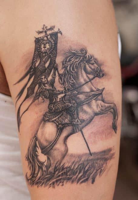 badass Warrior Horse With Rider Tattoo On Bicep