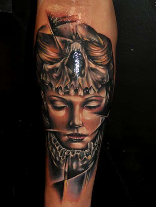 beautiful 3d face tattoo badass
