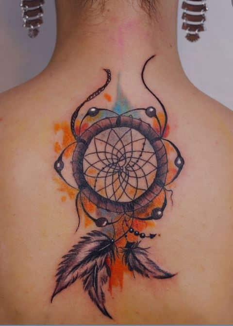 colorful-dream catcher-tattoo