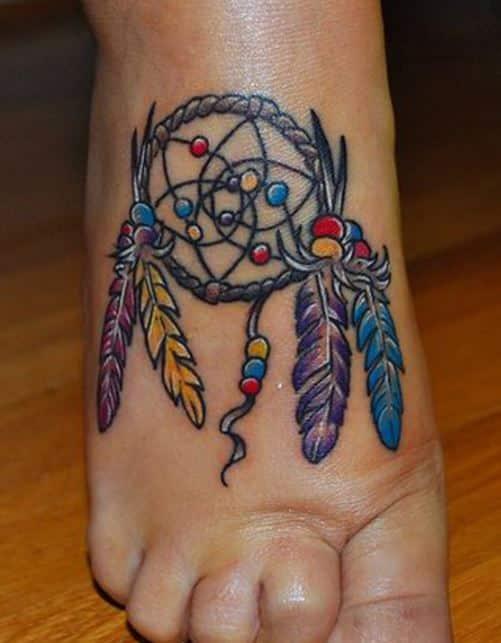 colorful dream catcher-tattoo