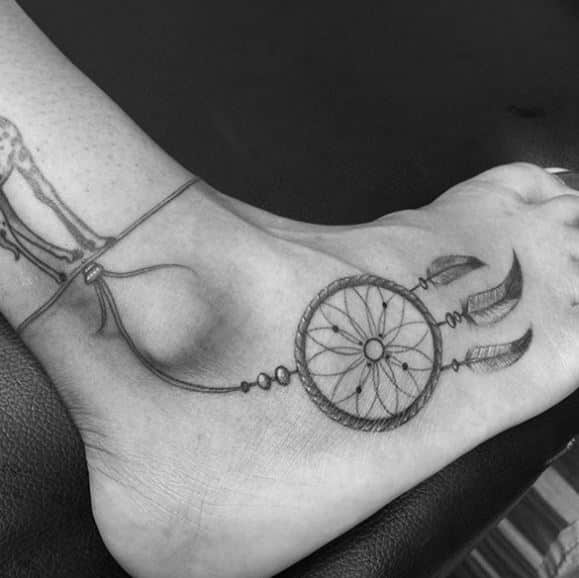 cool-small-dream catcher-tattoo-on-ankle