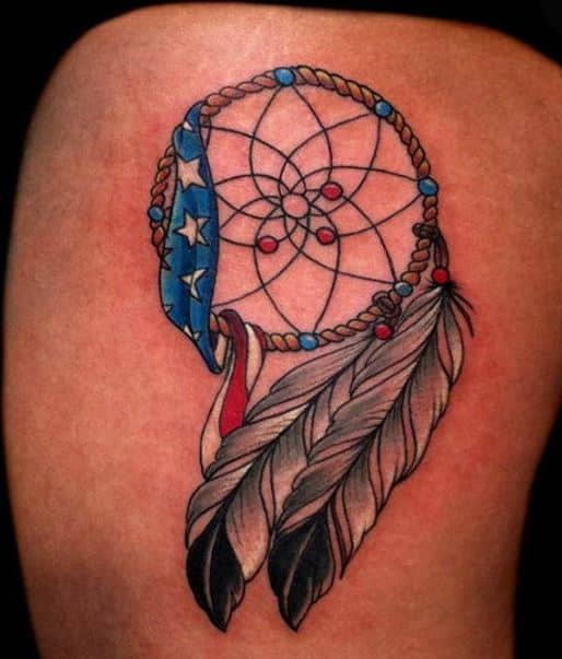 dream catcher-tattoo-designs-with-american-flag