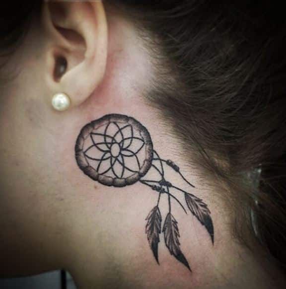 dream catcher-tattoos-behind-ear