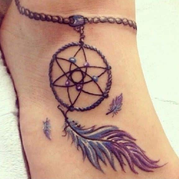 dream catcher tattoos on foot