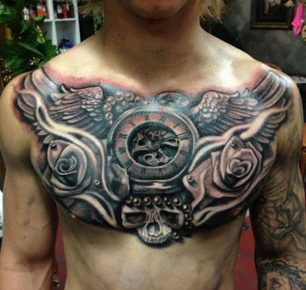 evil clock wings badass tattoos