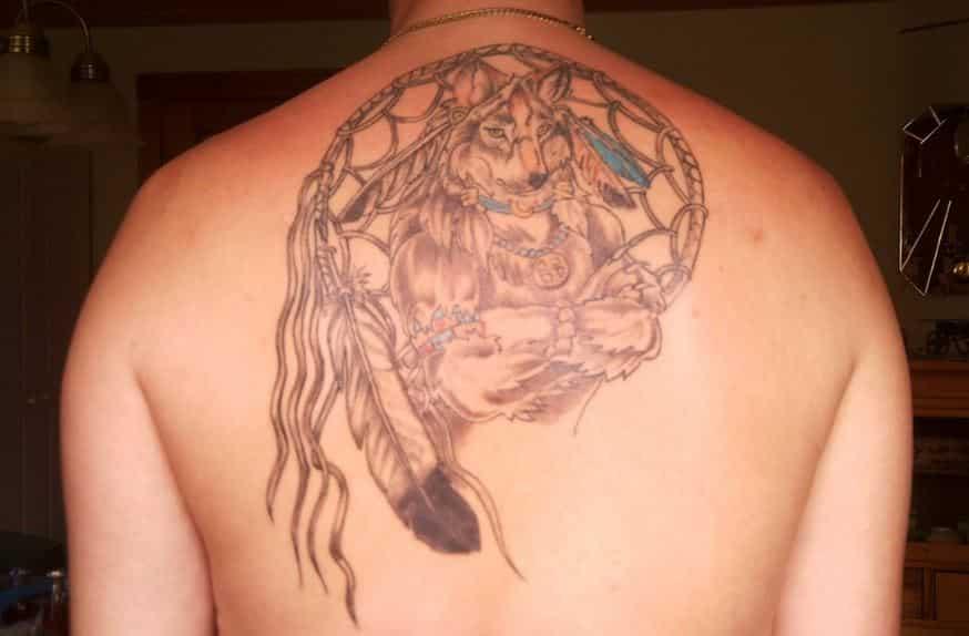 hd-wolf-in-a-dream catcher-tattoos