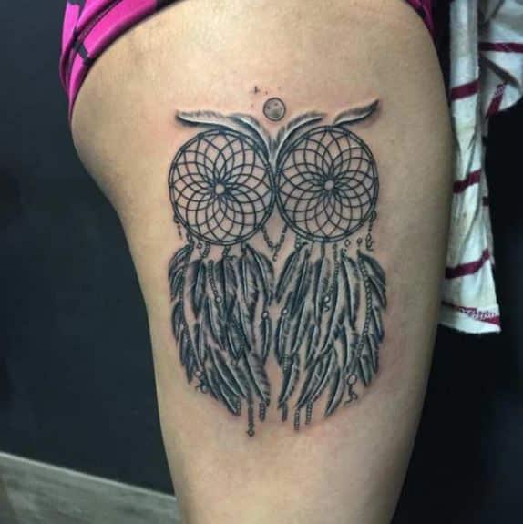 owl-dream catcher-tattoo