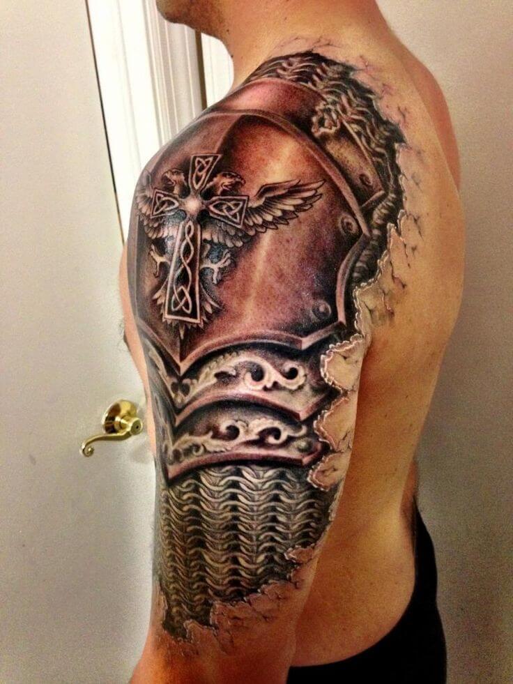 religious cross badass tattoo sleeve