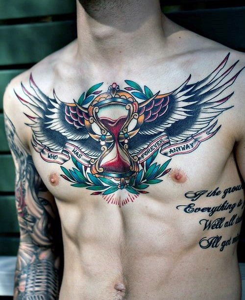 traditional-american-badass-hourglass-eagle-wings-chest-tattoos-for-males