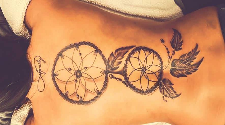 woman-dream catcher-tattoo-on-back