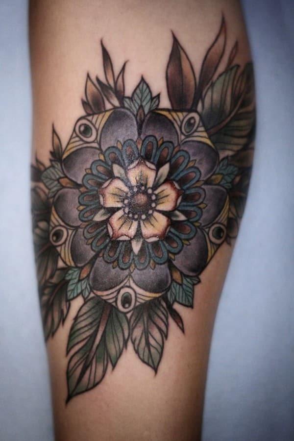 feather colorful mandala tattoo