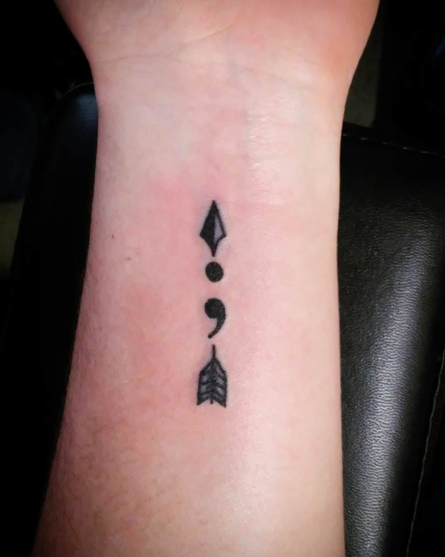 semicolon arrow tattoo design