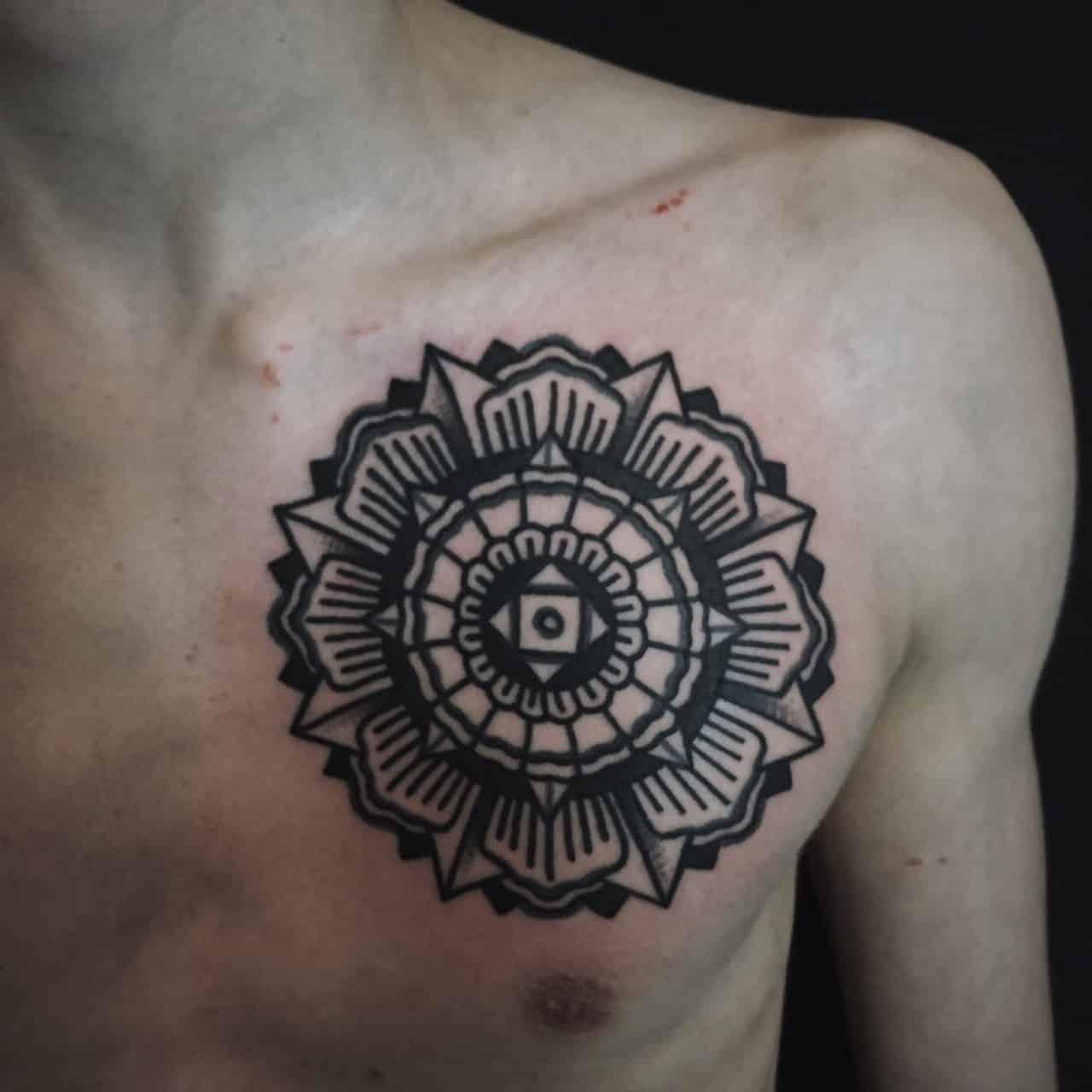 black mandala on chest