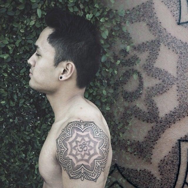 mandala-tattoo-for-men-with-om-symbol