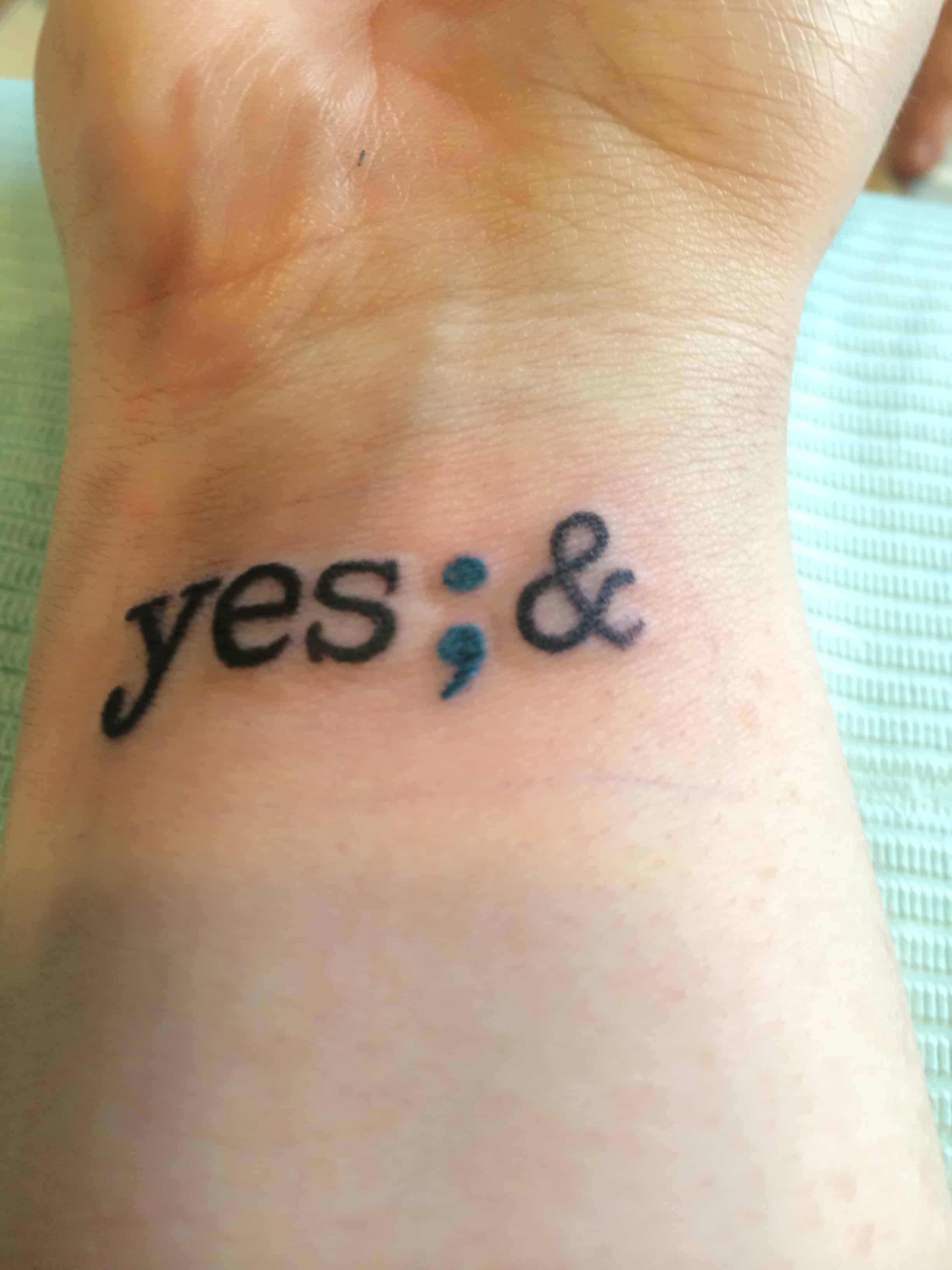 positive semicolon tattoo