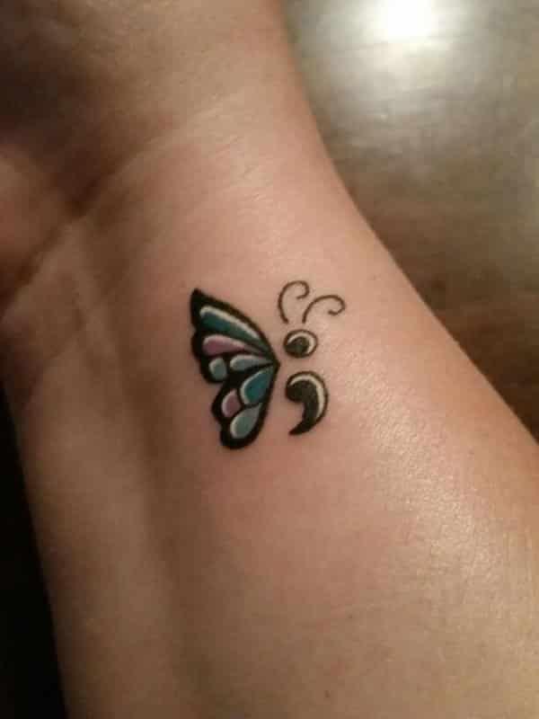 semicolon tattoo butterfly