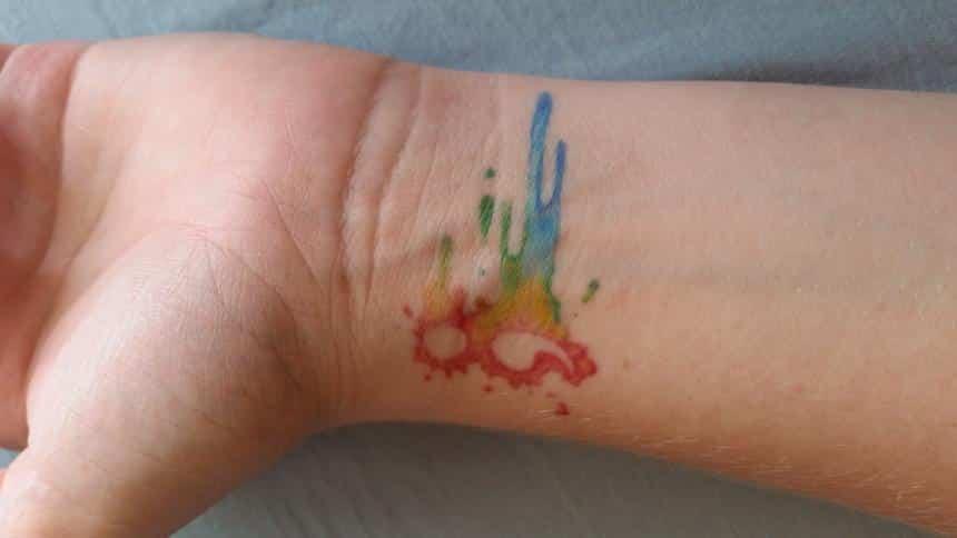 semicolon tattoo color splash