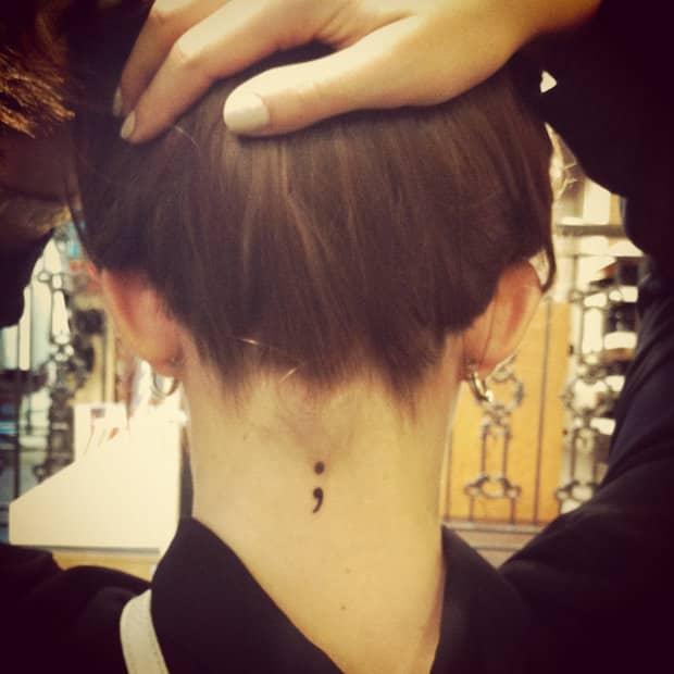 semicolon tattoo on neck