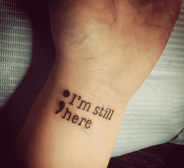 semicolon tattoos on wrist