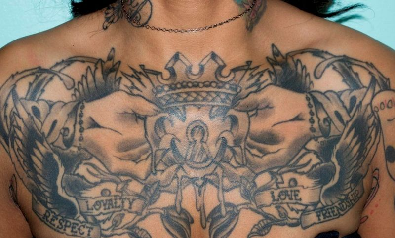 Crown Tattoo Design On Chest