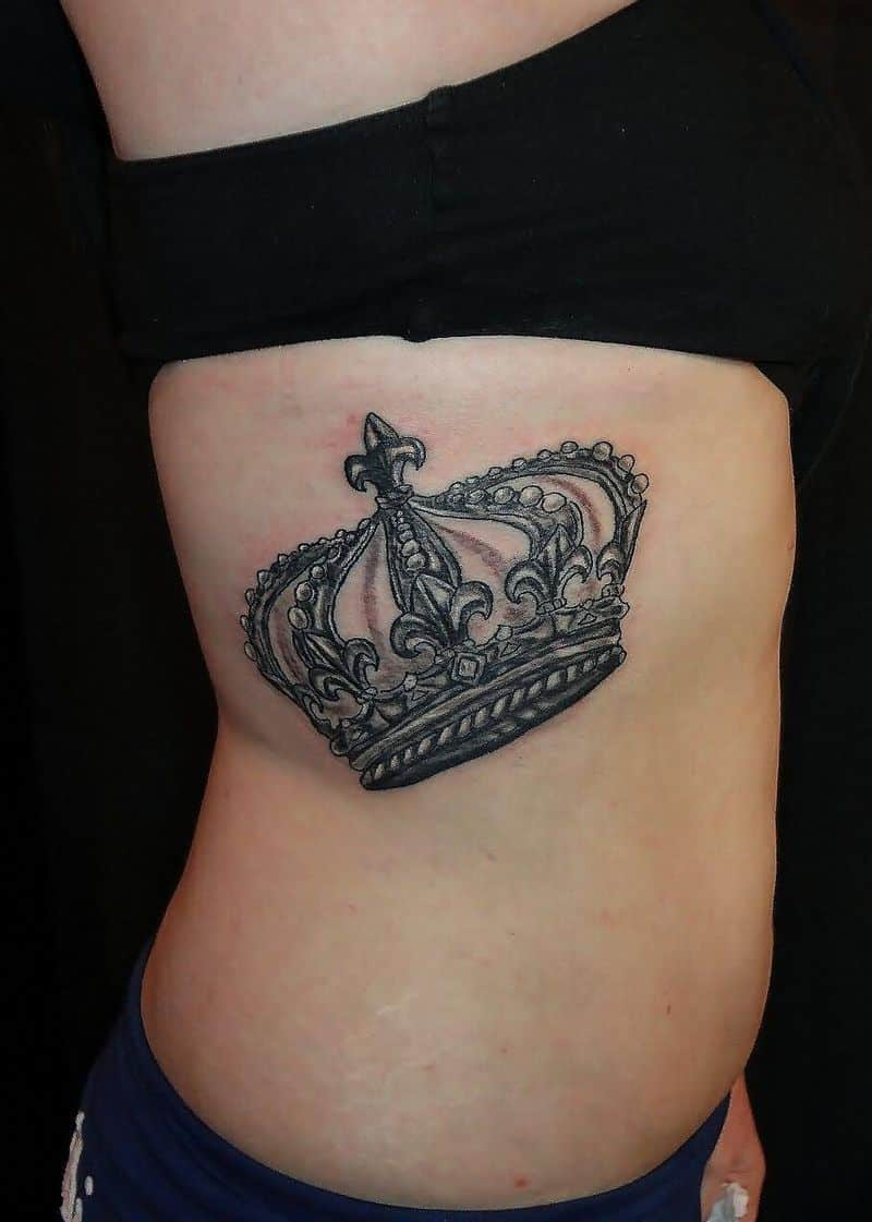 King Crown Tattoo On Girl Side Rib