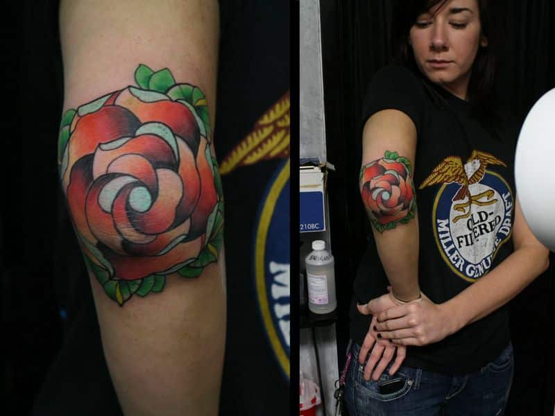 Rose n Diamond Tattoo On Elbow For Girls
