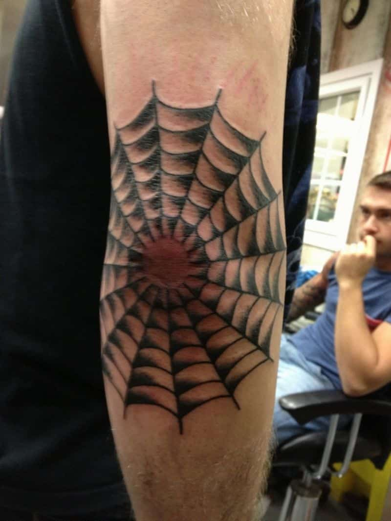 Spider Web Elbow Tattoo idea
