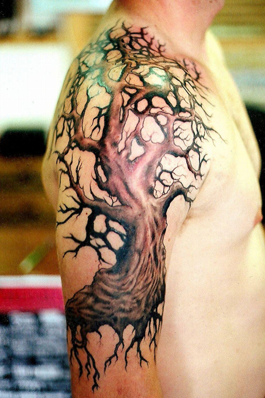 Tree Tattoo Design On Shoulder