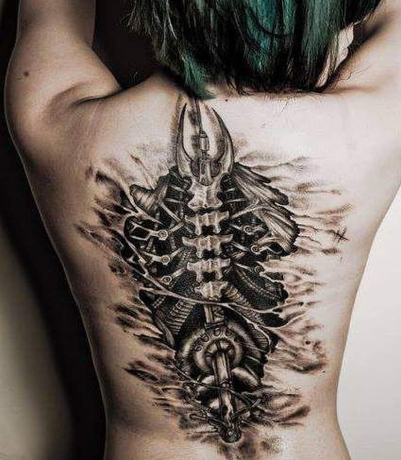 biomechanical spine tattoo on back for girls