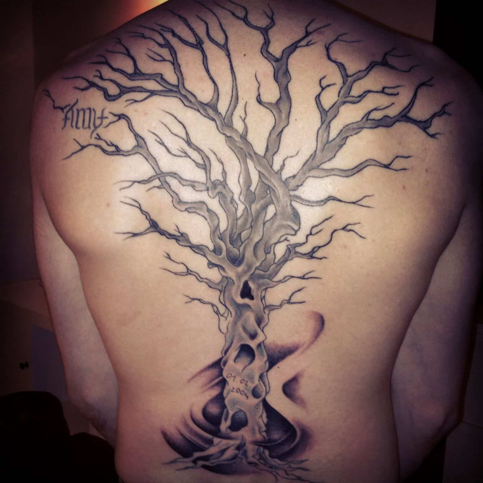 dead tree tatto on back