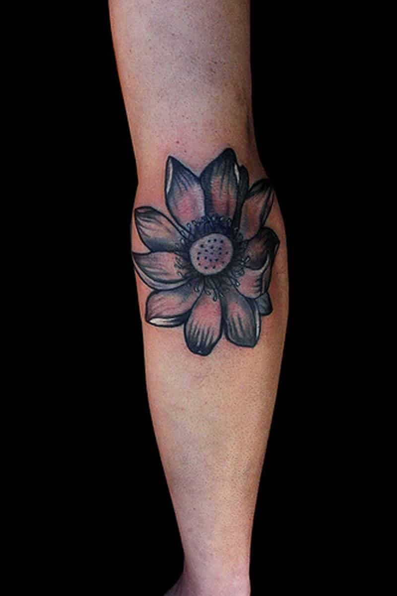flower elbow tattoo design