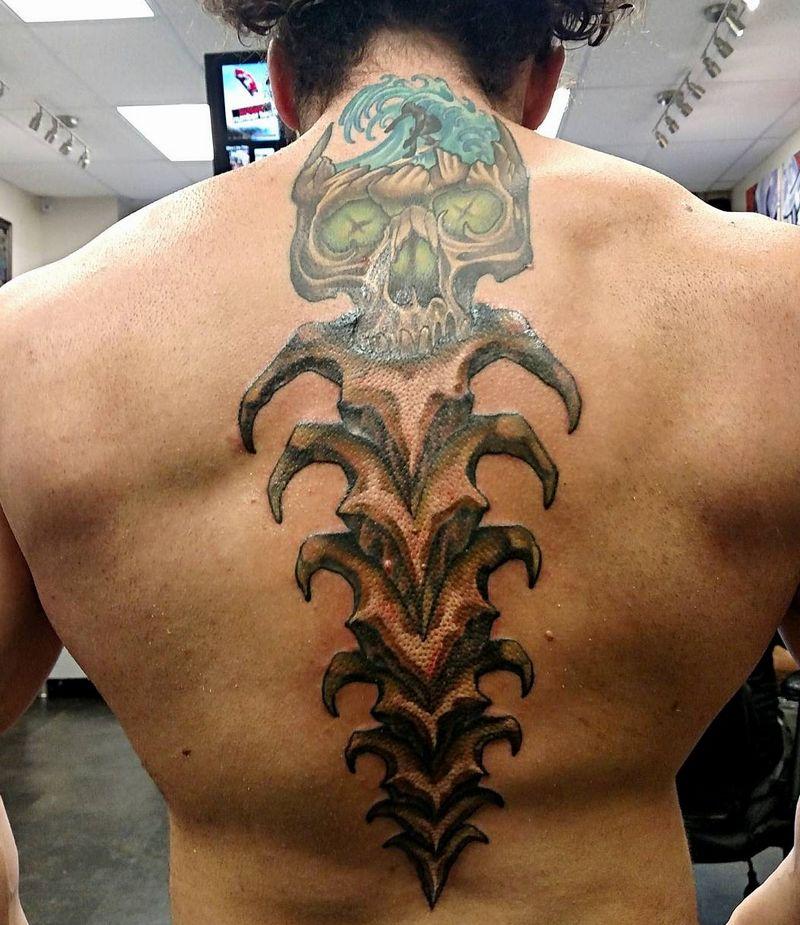 skeleton pattern spine tattoo