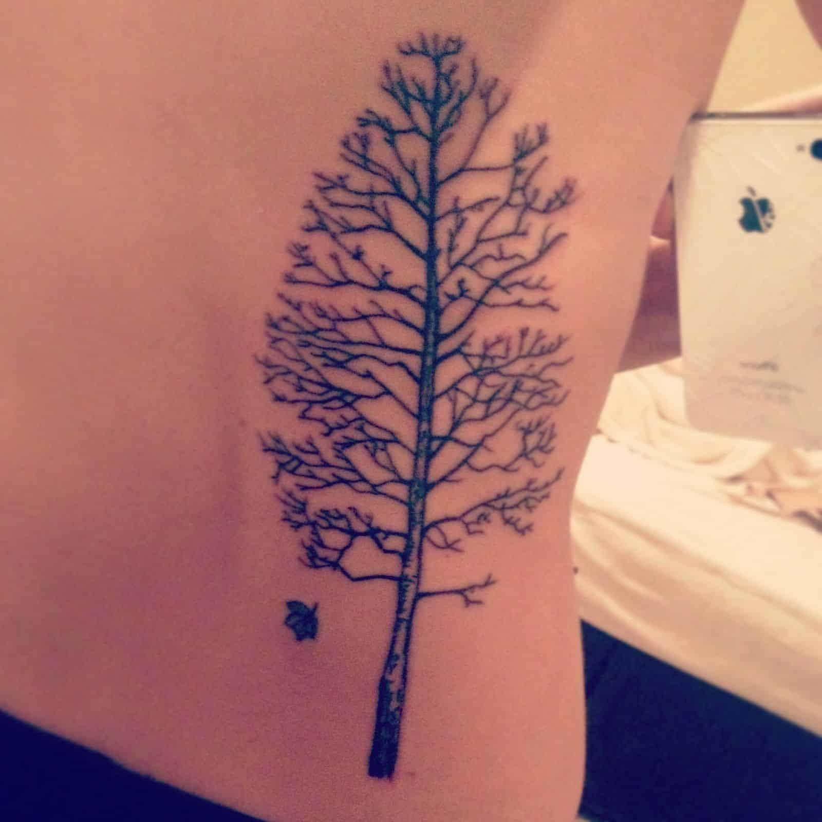 Tree Tattoo On Right Waist Side